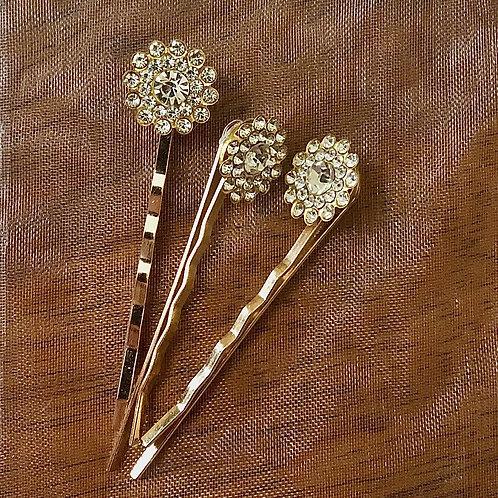 Gold Flower Bobby Pins