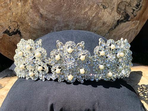 Rhinestones & Pearls Floral Wedding Tiara Headpiece