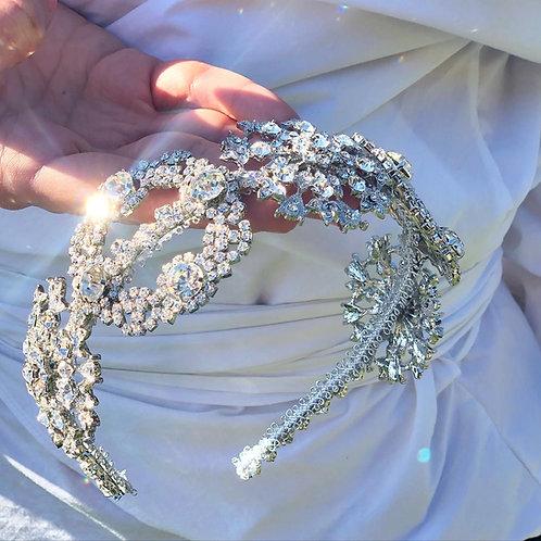 Rhinestone flower wedding headband