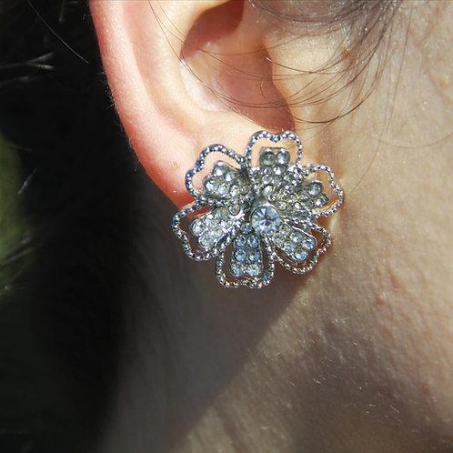 Large Rhinestone Flower Stud Earrings