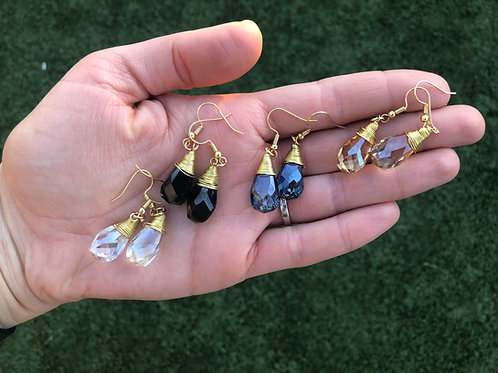 Dropped Crystal Gold Earrings