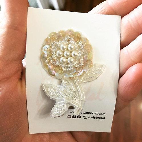 Small Beaded Flower Hair Clip for Flower Girl