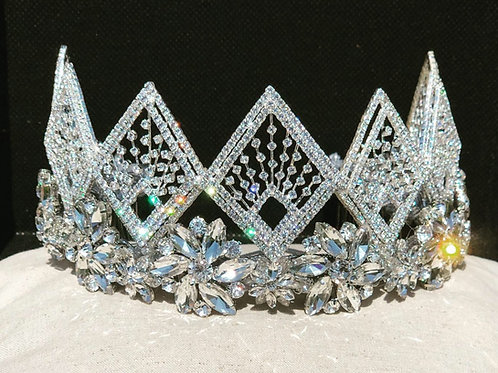 Flower Base Rhinestone Wedding Tiara Headpiece