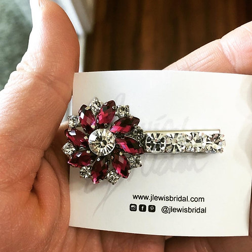 Small Dark Pink Hair Clip for Bridesmaids or Every Day Look