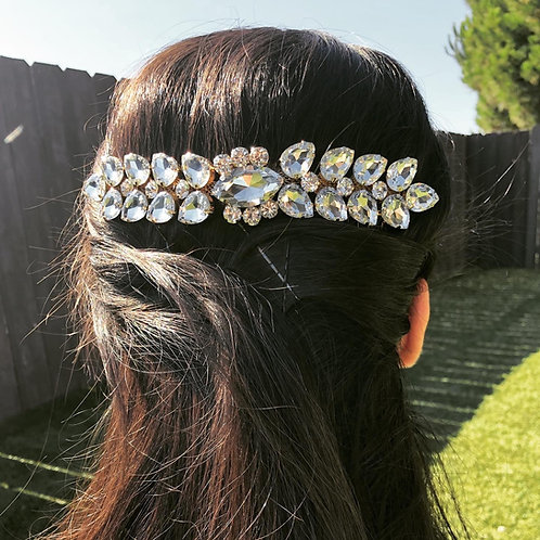 Golden Base Rhinestone Double Hair Comb