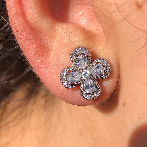 Four Petal Flower Glass Rhinestone Stud Earrings