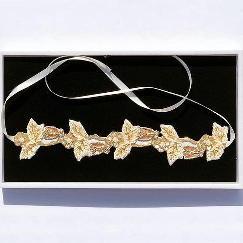 Golden Vintage Tie-Back Wedding Headband