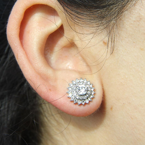 Sun Center Silver Stud Earrings