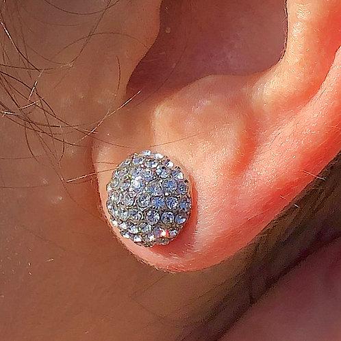 Round Ball with glass rhinestone stud earrings