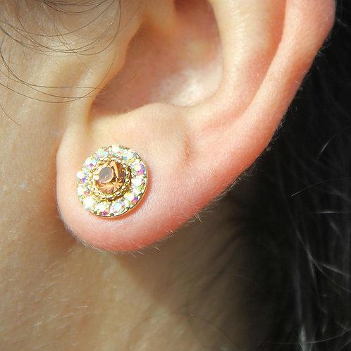 Brown/Gold Round Stud Earrings