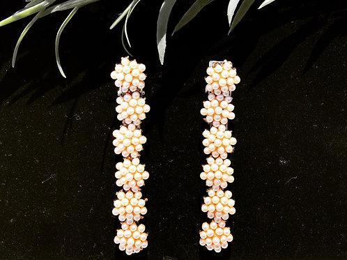Gold base pearl wedding hair clip set