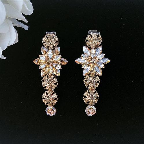 Gold wedding hair clip set