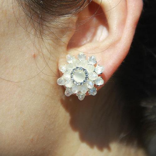 White Crystal Flower Earrings