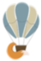 Illustraton of hot air balloon wt fox