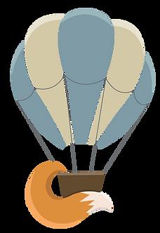 Illustraton of hot air balloon wt fox