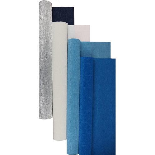 Premium Set - 4 pcs of Italian Crepe Paper Rolls, 180 g, Metallic Silver Blue