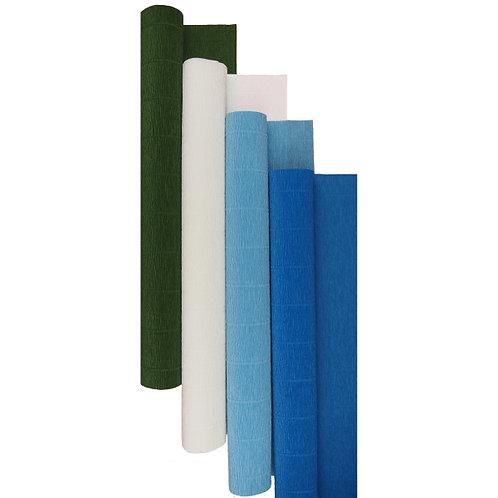 Premium Set - 4 pcs of Italian Crepe Paper Rolls, 180 g, Blue Iris
