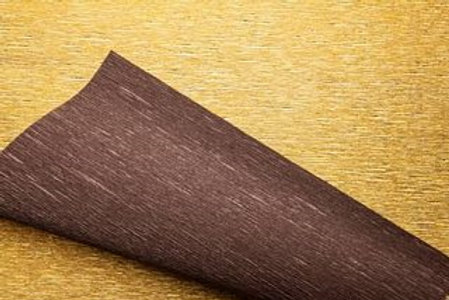 Crepe Paper Roll #801/7, Italian 180g Metalized Bicolor Gold/Dark Brown