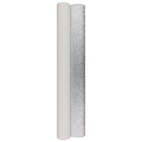 Premium Set - 2 pcs of Italian Crepe Paper Rolls, 180 g, Metallic Silver & White