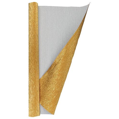Crepe Paper Roll #807, Italian 180g Metalized Bicolor Gold/White