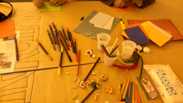 Children participating in the automata workshops