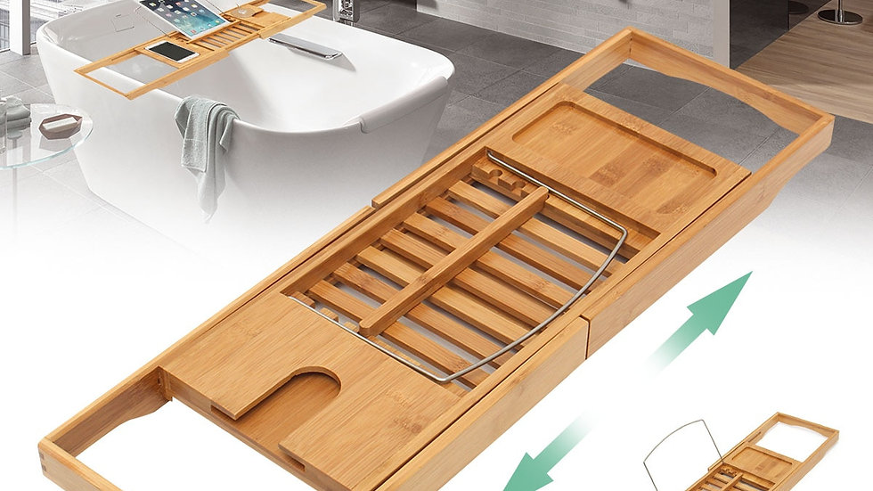 Bathroom Bamboo Bath Bathtub Shelf Bridge