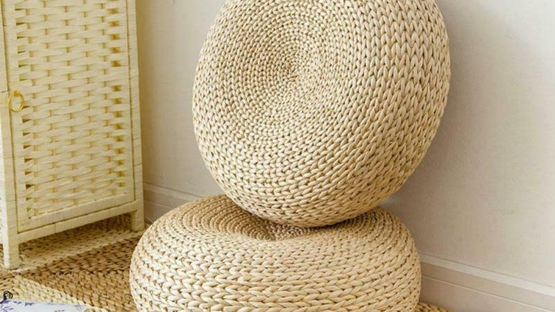 Floor Pillow Eco-Friendly Round Straw Cushion