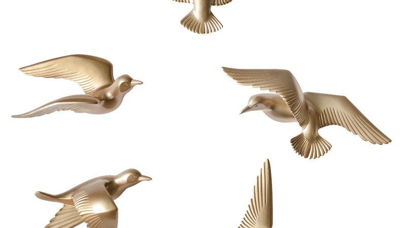 5pcs 3D Resin Bird Wall Decorations