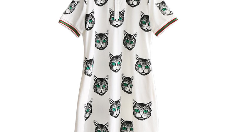 Black Cat Print Polo Shirt Dress