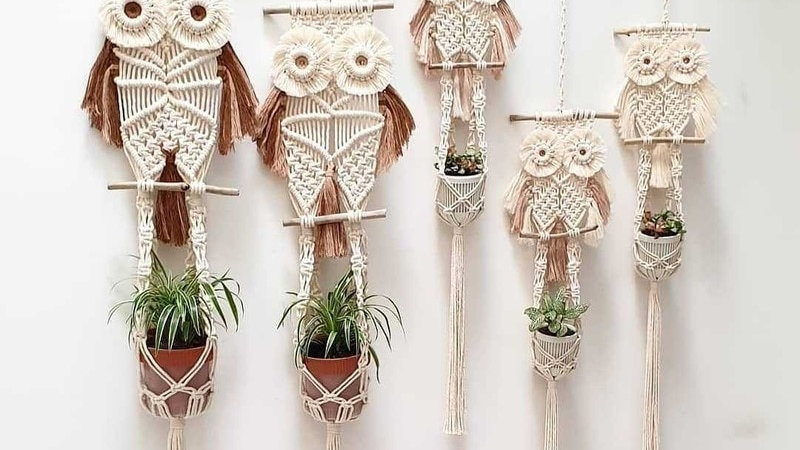 Owl Macramé Plant Pot Holders