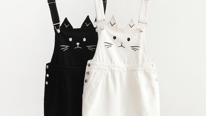 Cute Cat Print Overalls
