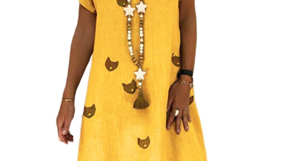 Colourful Cat Print Dresses