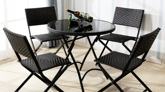 Black Outdoor Chairs & Table