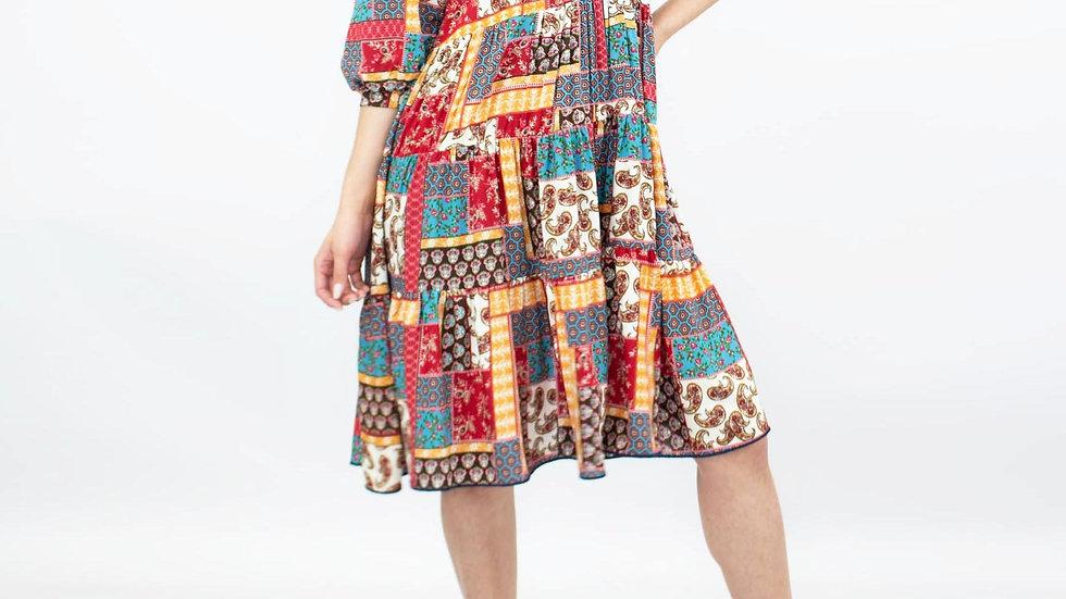 Patchwork  Flare Bottom  Dress