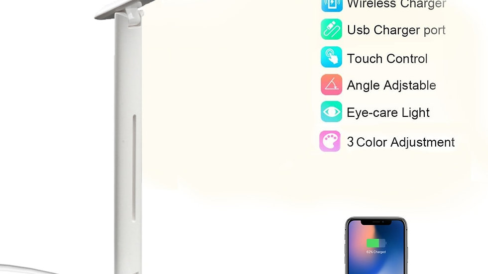 10W LED Desk Lamp With Phone Wireless Charger