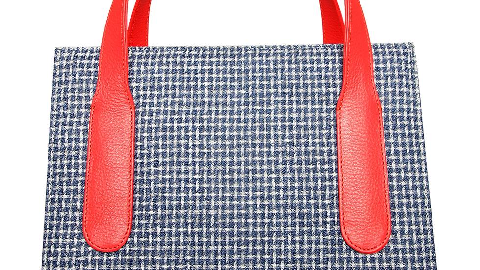 Large Eco Wool & Cotton Tote Blue-Coral