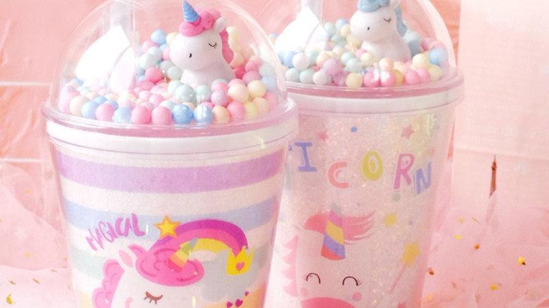 Dream Unicorn Plastic Cups with Straws