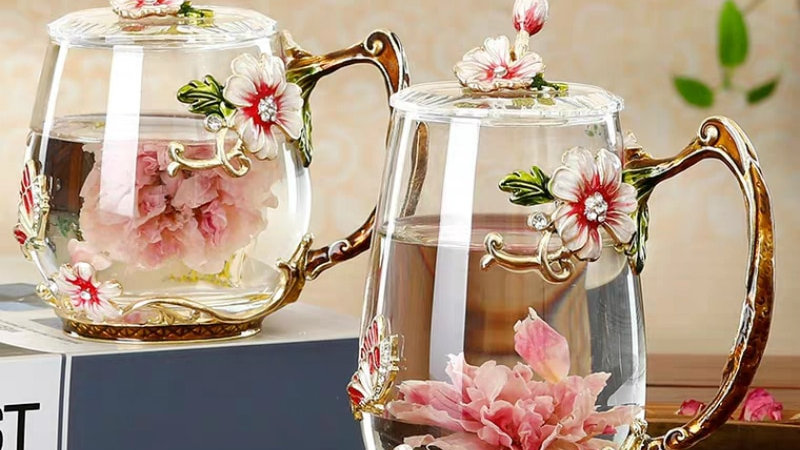 Floral Glass Drinkware
