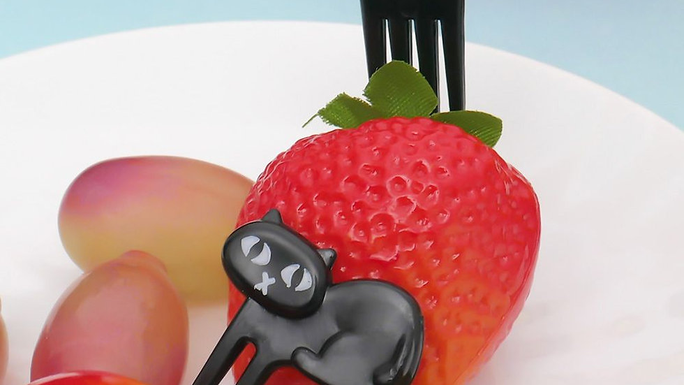 6pcs Black Cat Fruit Fork