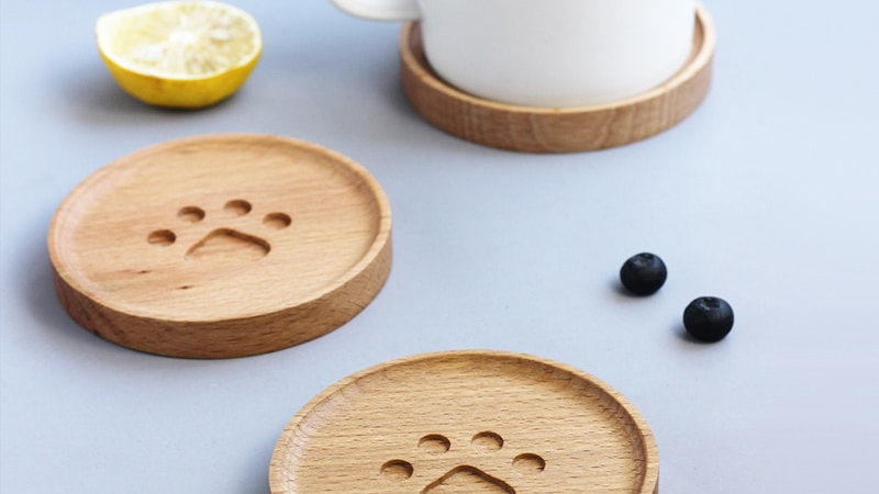 Cute Cat Paw Wooden Coaster
