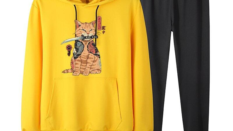 Men's Cat Print Tracksuit Set