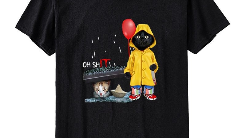 Funny IT Cat Print T-shirt