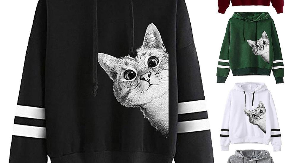 Cute Cat Print Hoodies