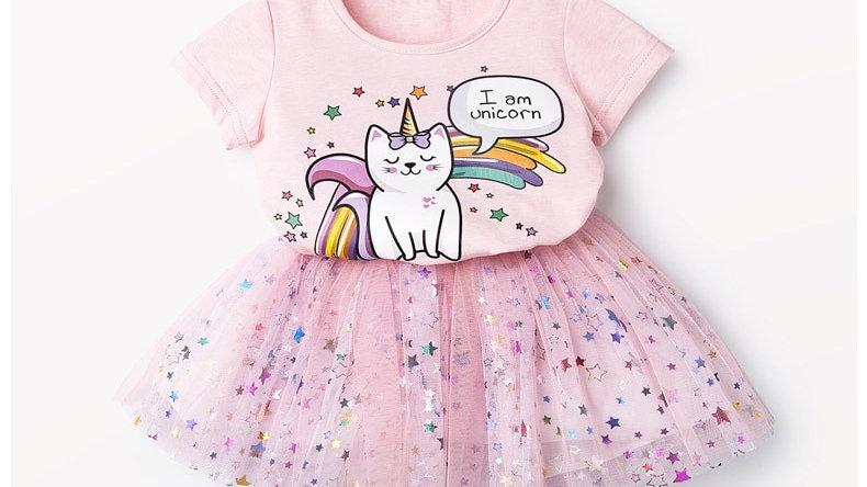 Cute Cat Print Toddler Dress