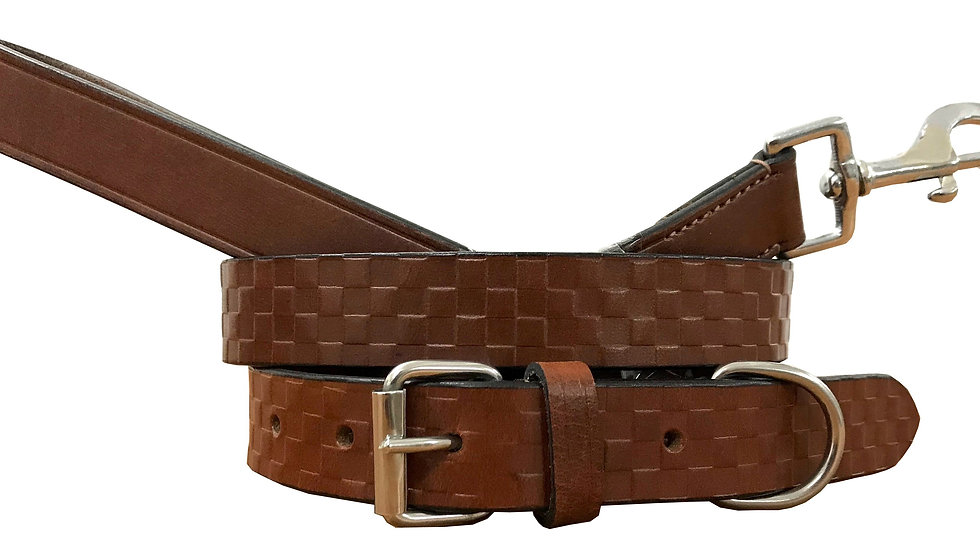 Genuine Leather Dog Collar and Lead Set