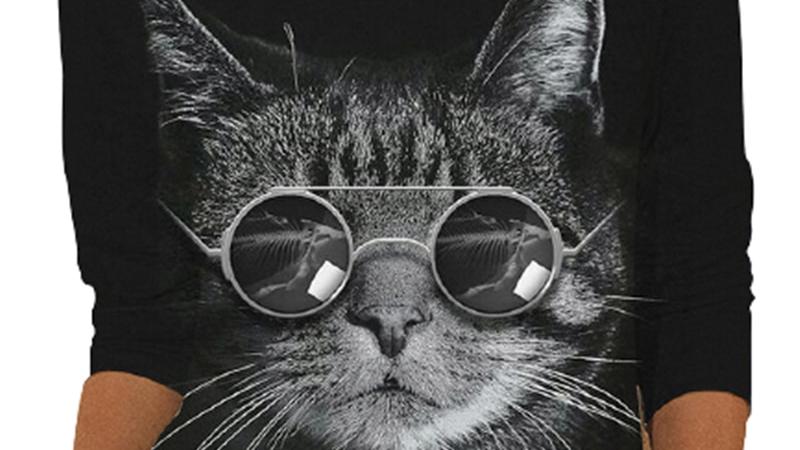 Long Sleeve Cool Cat Tops