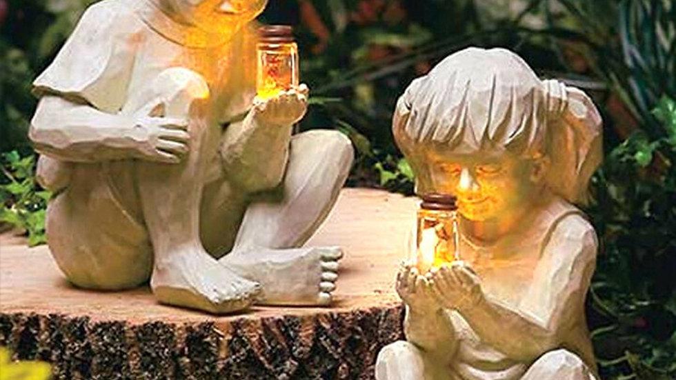 Children with Fireflies Garden Statues