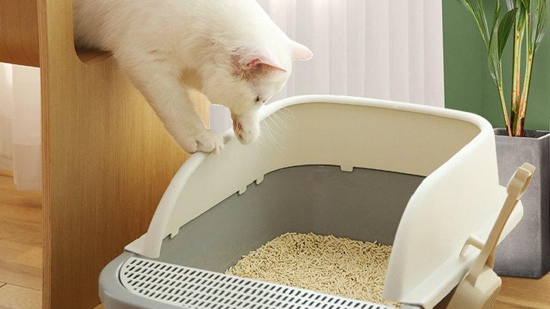 Large Cat Anti-Splashing Full Semi-Closed Litter Box