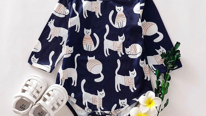 Baby Long Sleeve Cat Print Jumpsuit