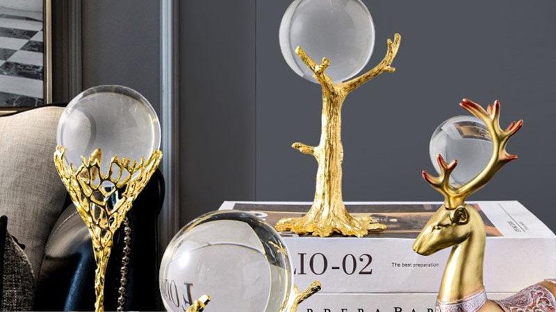 Crystal Ball Gold Ornaments